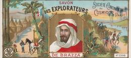 Étiquettes De Savon, Des EXPLORATEURS De BRAZZA - Société Continentale Du Cosmydor, Paris - ( 183 Mm X 82 Mm ) - Etiquetas