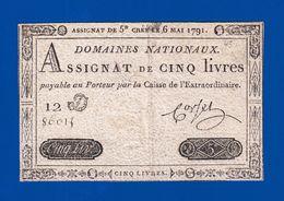 AUTHENTIQUE ASSIGNAT CORSEL DE 5£ CINQ LIVRES CRÉÉ LE 6 MAI 1791 LE TIMBRE SEC EST VISIBLE SÉRIE 12 D N° 86015  Serbon63 - Assignate