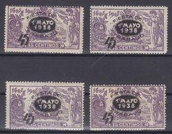 4 SELLOS **761 FIESTA DEL TRABAJO (HABILITADO 1 PTA. S/259 QUIJOTE) VER FOTO - OCASIÓN - 1931-50 Nuevos & Fijasellos