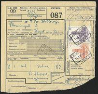 1956 - BELGIË/BELGIQUE/BELGIEN - Document - Michel 303+313 - Y&T 339+347 + PUURS, GENT (SINT-PIETERS) & BRUGGE - Railway