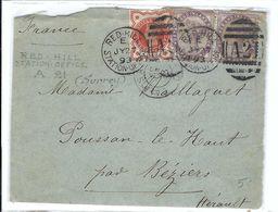 GRANDE BRETAGNE 1893: DDL De Red-Hill Pour Montpellier Avec Affr. Bicolore Et Obl. CAD,  B à TB - 1840-1901 (Victoria)