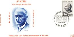 1713 (tag Der Briefmarkt - Hubert Krains) Sur FDC P419h Cachet Saint-Vith 27-4-1974 (dessin Lion) - FDC