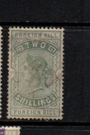 GB  QV  Fiscals / Revenues Foreign Bill Two Shillings Green; Stained - Fiscali