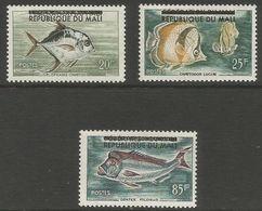 Mali - 1961 Fishes Republic Overprint MNH **   Sc 10-12 - Mali (1959-...)