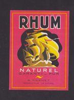 Ancienne étiquette Alcool France Vieux Rhum Bâteau Caravelle 2 - Rhum