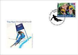 New Neu Slovenia Slovenie Slowenien 2014 Olympic Games Sochi Olympische Spiele; Tina Maze 2x Olympic Skiing Champion FDC - Winter 2014: Sochi