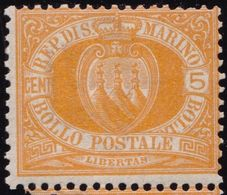 San Marino - 584 ** 1877 - 5 C. Giallo N. 2. Cat. € 300,00. SPL - Saint-Marin