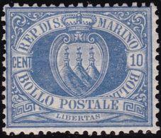 San Marino - 585 ** 1877 - 10 C. Oltremare N. 3. Cat. € 562,00. SPL - Saint-Marin
