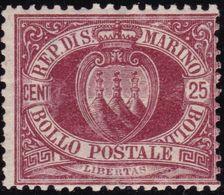 San Marino - 586 ** 1877 - 25 C. Lacca N. 6. Cat. € 250,00. SPL - Saint-Marin