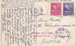 USA 1951 CARTE CENSUREE DE LOS ANGELES POUR WIEN ET RETOUR - Covers & Documents