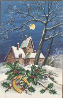 947 - MAGNIFIQUE CARTE BONNE ANNEE IDA. N° 769 . PAILLETTES DECOUPIS MAISONS HOUE FER A CHEVAL PAYSAGE ENNEIGE - Neujahr