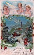 Ein Frohes Weihnachtsfest, Père Noël Et Angelots, Litho Gaufrée (24.12.06) Usure Des Angles - Santa Claus
