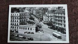 CPSM ALGER ALGERIE CARREFOUR DE L AGHA ET RUE RICHELIEU 1949  PHOTO AFRICAINES BUS - Alger