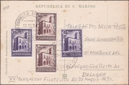 San Marino - 651 * 1933 - Mostra Filatelica La Serie N. 176/79 Su Cartolina Non Viaggiata. SPL - Saint-Marin