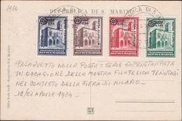 San Marino - 652 * 1934 - Convegno Filatelico La Serie N. 180/83 Su Cartolina Non Viaggiata. SPL - Saint-Marin
