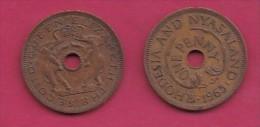 RHODESIA-NYASSALAND, 1963,  1 Penny VF, KM2,  C2871 - Colonias
