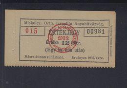 Ungarn Hungary Miskolcz 12 Filler Judaika Jew - Ungarn