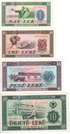 ALBANIA Set 1-3-5-10  Leke.   (4 Notes)  1976    P40a-P43a    UNC - Albanie