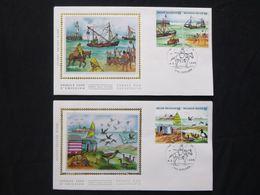 """BELG.1988 2273 2274 2275 2276 FDC 's Soie/zijde  (Moeskroen) :  """" De Zee / La Mer """" - 1981-90"""
