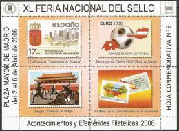 2008-HOJA CONMEMORATIVA Nº 6. XL FERIA DEL SELLO.PLAZA MAYOR.MADRID - Variedades & Curiosidades