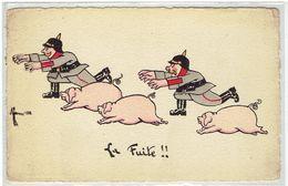 HUMOUR - Militaria - La Fuite Des Boches - Illustrateur Manei - Cochons - Casque épingle - Pinhelm - Humour