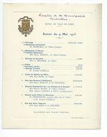 PROGRAMME RÉCEPTION DE LA MUNICIPALITÉ MADRILENE À PARIS 9 MAI 1913 - Programmes