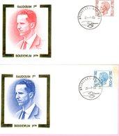 1962 & 1963 (Roi Baudouin Type Elström 9F Et 18F) Sur 2 Enveloppes Fdc Dorées Cachet Bruxelles-Brussel 28-1-1980 - FDC
