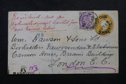 INDE - Entier Postal Type Victoria + Compléments Recto/ Verso En Recommandé De Bandikui Pour Londres En 1908 - L 62864 - India (...-1947)
