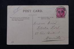 """INDE - Oblitération """" Aden Camp """" Sur Carte Postale En 1908 Pour La France, Affranchissement Victoria - L 62869 - India (...-1947)"""