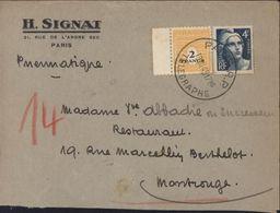 Pneumatique YT 709 Arc De Triomphe + YT 725 CAD Paris RP Télégraphe 19 III 45 Dos Arrivée Montrouge 19 3 45 H Signat - Marcophilie (Lettres)