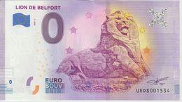 Billet Touristique 0 Euro Souvenir France 90 Lion De Belfort 2020-2 N°UEDS001534 - Private Proofs / Unofficial