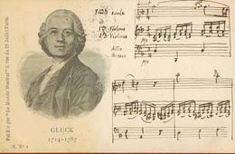 GLUCK -1714-1787- Musique- Cpa Du Monde Musical Paris- Rajout à La Main D'un Extrait De Partition-scans Recto Verso - Musica E Musicisti