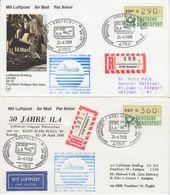 BRD - ATM 290+360 Pfg. Einschreiben Brief+Karte N. ANTIGUA SST Krefeld 1988 - BRD