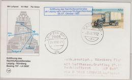 Island - Zuleitungspost Nachtluftpost Leipzig Nürnberg 1992 Luftpostkarte - Unclassified
