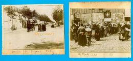 Deux-Sèvres * Parthenay En 1900, Avenue De La Gare, Marché Couvert - 2 Photos Originales - Voir Scans - Lieux