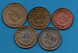 ARMENIA LOT 5 COINS 20-50-100-200-500  Drams 2003 - Arménie