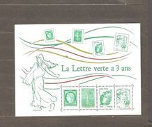 FRANCE BLOC  FEUILLET   LA LETTRE  VERTE A 3 ANS     NEUF **  MNH   DE   2014 - Souvenir Blocks & Sheetlets