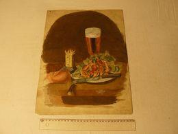 Peinture Gouache, Signé H. Caillez, Peintre Cambrésien. 1887. Noté: Papa Avait 15 Ans. Dim: 32 X 42.5 Cm. - Gouaches