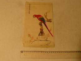 Peinture Sur Soie, Perroquet. Signé. Dim: 16.5 X 27 Cm. - Gouaches
