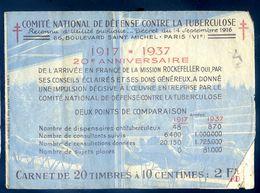 Carnet De  Timbres Antituberculeux -- Nestlé - Mission Rockefeller   AVR20-112 - Antitubercolosi