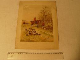 Lithographie René Valette, Rendez Vous De Chasse. R.Laurens édit. PI 96. Le Modèle N° Du 15/12/1894. Dim: 25 X 32.5 Cm. - Lithographies