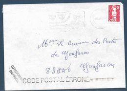 Griffe Code Postal Erroné / Lettre Affr. 2,50 Marianne De Briat Autocollant 2.4.1993. Au Dos Secap 83 Le Luc / Var - 1989-96 Marianne Du Bicentenaire