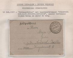 G3/ Feldpostbrief C.Feldpostexped.D.26.Reserve-Division De Moyenneville 10/2/1917 > Brüssel - Ixelles - Occupation 1914-18