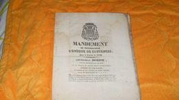 DOCUMENT ANCIEN DE 1840..MANDEMENT DE MONSEIGNEUR L'EVEQUE DE COUTANCES POUR LE CAREME DE 1840..LOUIS JEAN ROBIOU EVEQUE - Documents Historiques