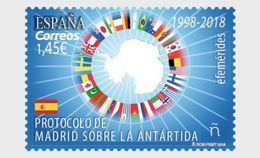 SPAIN, 2018, MNH, MADRID TREATY ON THE ANTARCTIC, SOUTH POLE, FLAGS,1v - Autres