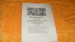 DOCUMENT ANCIEN DE 1845..MANDEMENT DE MONSEIGNEUR L'EVEQUE DE COUTANCES POUR LE SAINT TEMS DU CAREME DE L'AN DE GR. 1845 - Documents Historiques