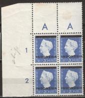 Indonesia 1948 20ct Blok Van 4. Plaatfout/platefault Bottom Right Stamp: 338P (stip Op Slaap) NVPH 352. MNH/**/Postfrisc - Netherlands Indies