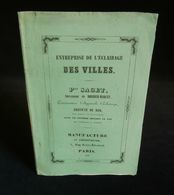 ( Urbanisme Eclairage ) APPAREILS D'ECLAIRAGE Système BORDIER-MARCET 1846 Catalogue - Elettricità & Gas