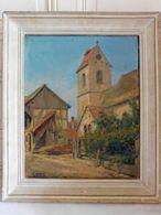G.HUBERT (XXème) Vue De Village Huile Sur Toile Signée Encadrée - Olieverf