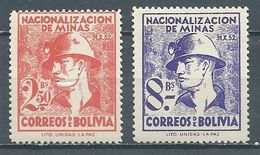 Bolivie YT N°349/350 Nationalisation Des Mines Neuf ** - Bolivie